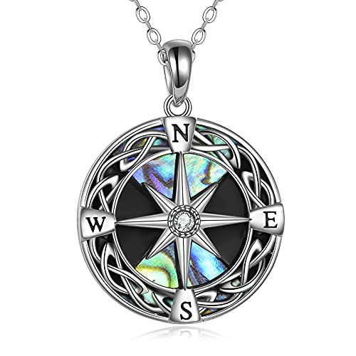 Compass Necklace Sterling Silver Celtic Knot Abalone Shell Necklace Graduation Friendship Talisman Travel Necklace Inspirational Graduation Gift Jewelry Gifts for Women