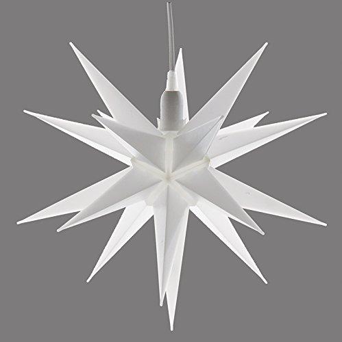 Rudolphs Schatzkiste Kunststoff-Stern für innen, 19 Zacken inkl. Elektrik und Leuchtmittel E 10, weiß Ø 35cm NEU Fensterbild