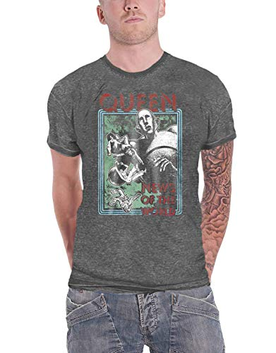 Queen T Shirt News of The World Band Logo Ufficiale Uomo Charcoal Grigio Burn Size XL