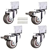 uoboeuq 4 Pack 1 Inch Small L-Shaped Plate Swivel Caster Combo, TPR Rubber Wheel Metal Housing Caster L-Shape Side Mount Plate for Furniture, 80Lbs/36Kg Load Capacity - 2 Swivel 2 Swivel w/Brake