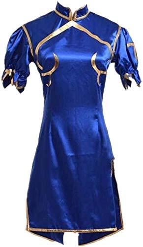NA ZT SF Chun Li Juego Cosplay Traje Traje Azul Sexy Dress Trajes Set Cheongsam Halloween Carnival Ropa (Color : L)