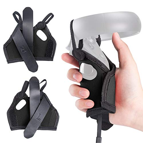 (1 Pair) Orzero Grip Strap Controller Cover Compatible for Oculus Quest VR(Hook&Loop Version), Washable Protective Sleeve - Black