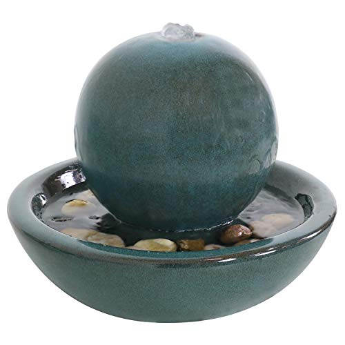 Sunnydaze Ceramic Tabletop Water Fountain with Orb Design - Indoor Zen Desktop Relaxing Water Feature - Interior Spa and Yoga Decoration - 7-Inch Tall