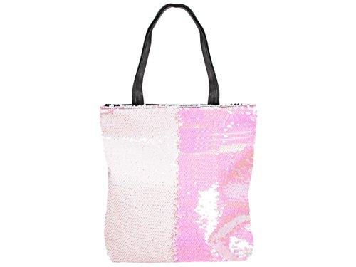 Pailletten Shopper Tasche Geräumige Strandtasche mit Wendepailletten 37 cm x 34 cm mit Reißverschluss Shopperbag Tragetasche Schultertasche von Alsino, Variante wählen:TT-P05 rosa Rose