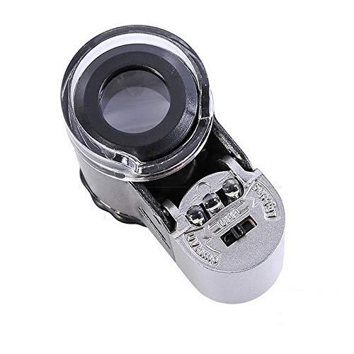 YINGGEXU Lupa de mano 50X Mini microscopio de bolsillo Detector de divisas Joyero Lupa con luz LED (color G275179)