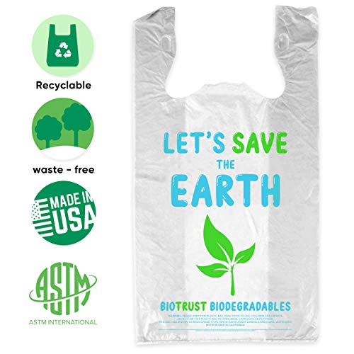 BioTrust T Shirt Grocery Bags - 100% Biodegradable & Eco Friendly – Reusable Supermarket Small Trash Bags - Extra Strong Thank You Plastic Shopping Handles - Recyclable For Dog & Cat Poop (250 Count)