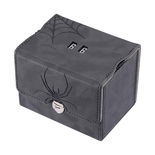 Zoopin Leather Deck Box with Built-in Spinning Life Counter, Black for MTG,Yugioh,Pokeman,TES Legacy,Munchkins CCG Decks and Also Small Tokens or Dice- Hold 80 Sleeved Cards or 150 Naked Cards …