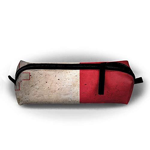 Malta-Flagge, Wandstift, Bleistifttasche, Make-up-Tasche für Reisen, Kosmetikpinsel, Accessoires, Kulturbeutel, Taschen, Reißverschluss, Tragegriff, Stromlinien, Hängetasche, Dokumente