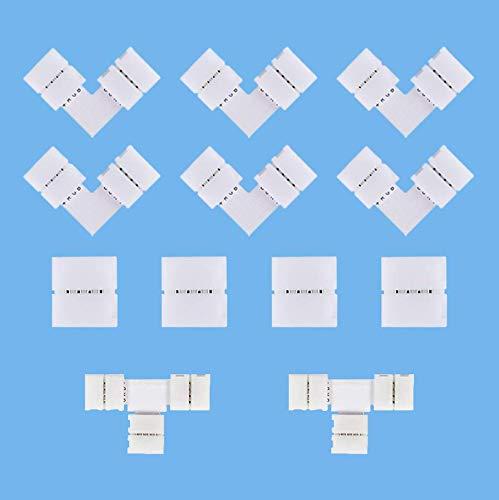 Connettore per striscia LED, connettore angolare, connettore a 4 poli, RGB a 90°, connettore rapido T/L, set di accessori per 4 Pin 12 V 10 mm 5050/3525 Stripe Light (non richiede saldatura)