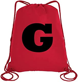 IMPRESS Drawstring Sports Backpack Red with Rockwell Letter G