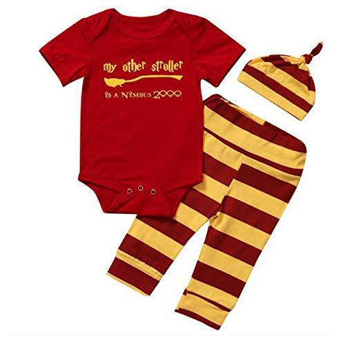 T TALENTBABY Conjunto de ropa para recién nacidos y niñas, mameluco a rayas + pantalones + sombrero, rosso, 6 mes