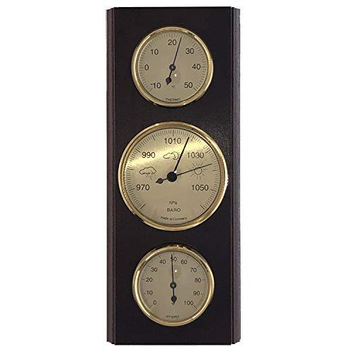 SELVA Wetterinstrument, Wetterstation – mechanisch, analog – Nussbaum – für außen – mit Thermometer, Barometer und Hygrometer (Maße: 270 x 110 mm)