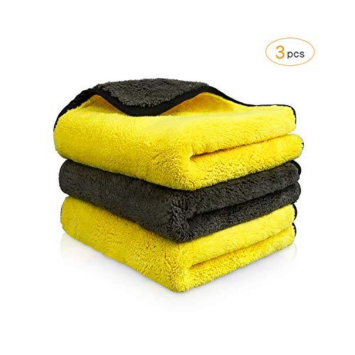 KOYOSO Microfasertuch Autopflege, 1200GSM Microfasertuch Trockentuch für Auto Waschen, Polier, Wachsen - 40 x 40cm, 3 Pack