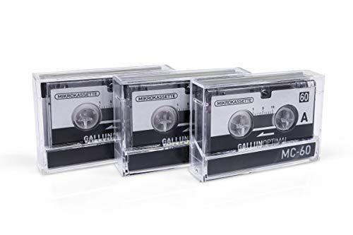 GALLUNOPTIMAL MC60 Mikrokassette – für Diktiergeräte – 3er Pack – Kassette für Diktiergerät – Microcassette – Audio Cassette