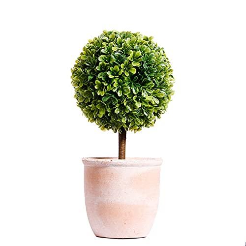 Lazzzgua Künstliche Topfblume, Mini Fake Kunststoffsaison Baum Pflanze Mit Topf Für Home Decoration, Topfpflanzen Für Hochzeit Home Office Tisch Bonsai Dekor Grün