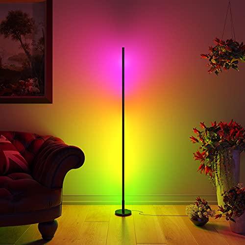 Sutikku | Lampara de Pie LED Colores 150 cm | Estilo Minimalista Nordico | Lampara Salon de Pie para Decoracion Esquina | Lampara Colores RGB | Luz Regulable con Mando (Negra)