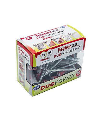 fischer - Taco Duopower 8X40 S/ taco y tornillo para cualquier superficie/ (Caja Brico de 25 Uds), 536391