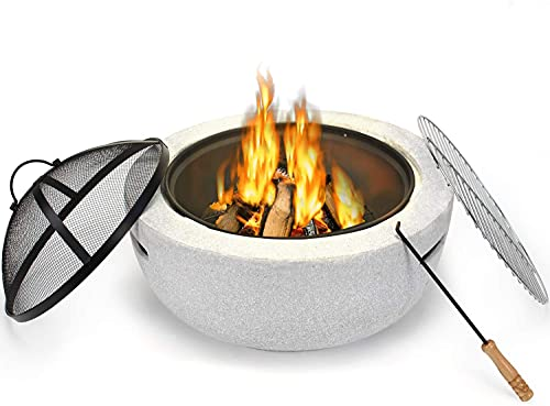 DAWOO Concrete Firepits with BBQ Grill Shelf,Barbecue Brazier,Table Brazier Garden Patio Heater/BBQ/Ice Pit with Waterproof Cover,Magnesium oxide material (3 in 1Fire Pit Table & Grill) (38X60X25cm)