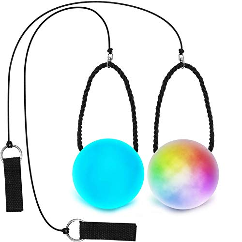 2 Piezas Bolas de Poi LED, Juguete de Bola Flow Giratoria de Luz, Bolas de Poi de Luz Multicolor