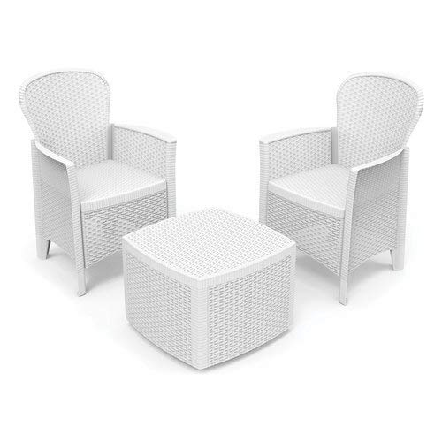 DMORA 8052773493291 Set da Giardino con Cuscini, 2 Poltrone e 1 Tavolino Contenitore da Esterno, Made in Italy, Bianco