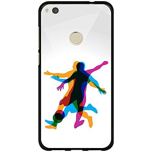 BJJ SHOP Funda Negra para [ Huawei P8 Lite 2017 ], Carcasa de Silicona Flexible TPU, diseño: Jugador de Futbol en Movimiento 3D
