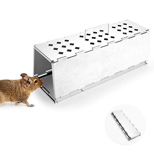 Qomolo Lebendfalle Mausefalle, Mausefalle Lebend Zusammenklappbar Premium Rattenfalle Tierfalle Tierfreundlich Wiederverwendbare für Garten & Haus, ua Hamster