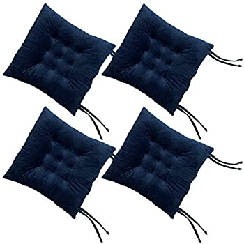 RULLENY Set of 4 Chair Pads and Seat Cushions with Ties Non Slip Comfortable and Soft for Indoor Dining Living Room Kitchen Office Chair Den Travel Washable  Navy Blue 4