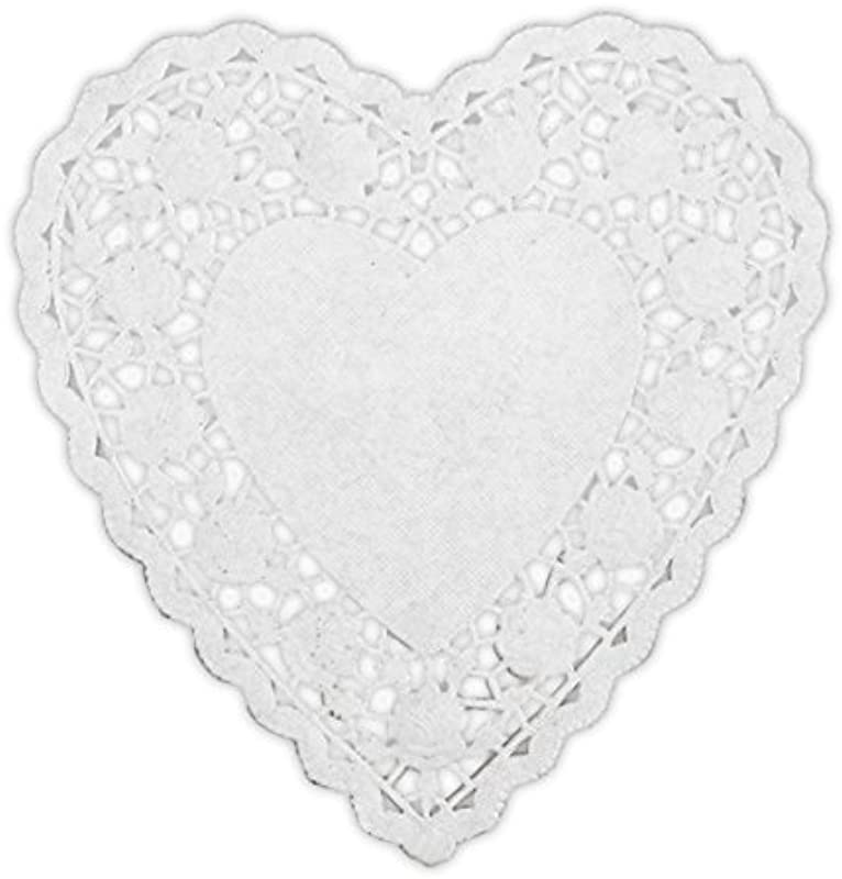 6 White Heart Shaped Paper Doily Quantity 100