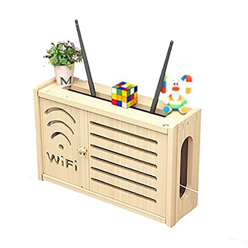 JYMEI WiFi Router Shelf,Router Rack,Router inalámbrico WiFi,Soporte de Cables,Almacenamiento de Casa,TV Set-Top Rack,WiFi Caja de Almacenamiento Router Estante (2 Colores)
