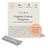Cora Organic Tampons | Regular Absorbency | 100% Cotton Core, Unscented with BPA-Free Applicator | Leak Protection, Easy Application | Non-Toxic, Hypoallergenic (36 Count)