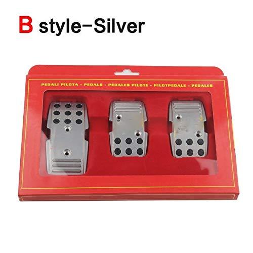 JJJJD for Momo Style Car Frizione Freno Pedali Coperchio a Pedale Antisdrucciolevoli dei rilievi del Pedale for i Veicoli Manuale (Color : B Style Silver)