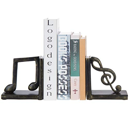 MyGift 2-Piece Musical Note Decorative Resin Bookends
