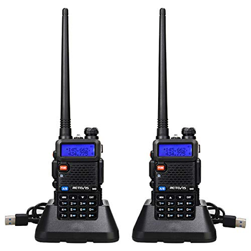Retevis RT5R Walkie Talkie Professional, Dualband-Langstrecken-2-Wege-Radio mit USB-Ladegerät, 128 Kanäle VOX Funkgerät FM-Radio Tragbarer Hand-Transceiver für Lager, Jagd (Schwarz, 2 Stück)