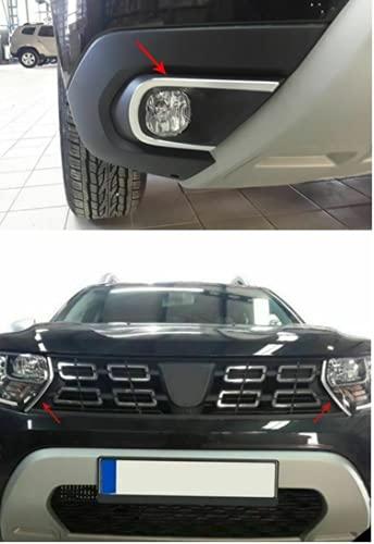 Biotto Auto - Cubiertas de llanta para lámpara antiniebla cromada y parrilla delantera lateral Streamer de acero compatible con Dacia Duster 2018Up