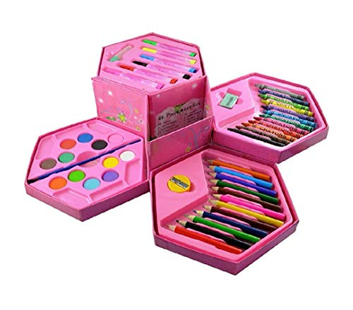 USV Art Set,Colors Box Color Pencil,Crayons, Water Color, Sketch Pens Set of 46 Pieces for Boys and Kids Best Birthday Gift & Return Gift (Colour Box for Kids) Color and Design May Vary)