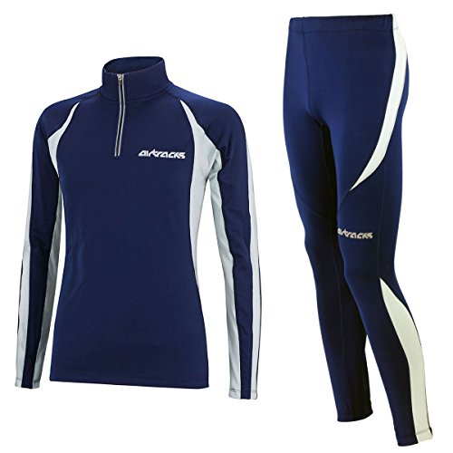 Airtracks Winter Funktions Laufset/Thermo Laufhose Lang Pro + Thermo Laufshirt Langarm Pro -Navy - S - Damen