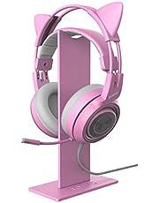 Różowy stojak na słuchawki, uniwersalny stojak na słuchawki, uchwyt na słuchawki, ekspozycja wieszak aluminiowy do gier uchwyt na słuchawki wyświetlacz słuchawki douszne uchwyt do wszystkich słuchawek