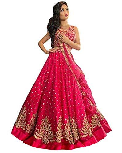 Spangel Fashion Women's Beautiful Flare Anarkali Net Silk Red Embroiered Lehenga Choli