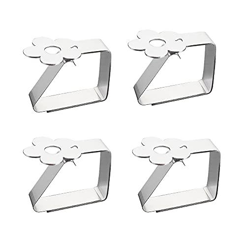 CJBIN Tischtuchklammern aus Edelstahl, 4er-Set Tischtuchklammern, Blume-Motive Tischdeckenklammern, für Tischplatten bis zu 3 cm Stärke, zum Befestigen der Tischdecke für Drinnen und Draußen(Silber)