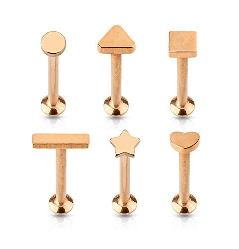 Kultpiercing - Labret Helix Piercing 6er-Set - Tragus Cartilage Piercing-Stecker Barbell Piercing-Set - 1,2 x 6 mm Rosegold