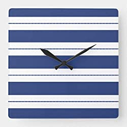 Dwi24isty Classic Wood Clock, Non Ticking Clock Blue and White Striped Square Wall Clock 15 Inch Decorative Clock for Kitchen Living Room