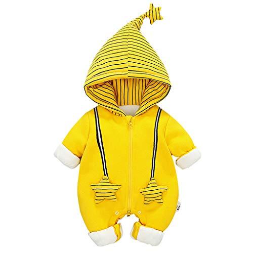 Robemon Baby-Kleidung, dick, mit Kapuze, Plüsch, Winter, warm, gestreift, langärmlig, für Kinder, Mädchen, Jungen, Geburt Gr. 18-24 Monate, gelb