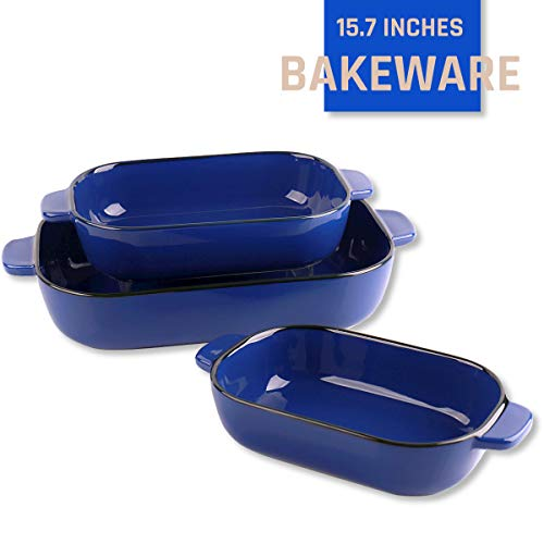 Kvv Ceramic Bakeware Set of 3 Piece Retangular Baking PanBaking Dishes Lasagna Pans for Cooking Kitchen Cake Dinner Banquet and Daily Use 13 x 9 Inches blue