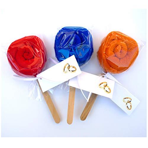 Detalles y recuerdos de boda, bautizos y comuniones. Toallas con divertida forma de piruleta de Colores. (40 unidades)