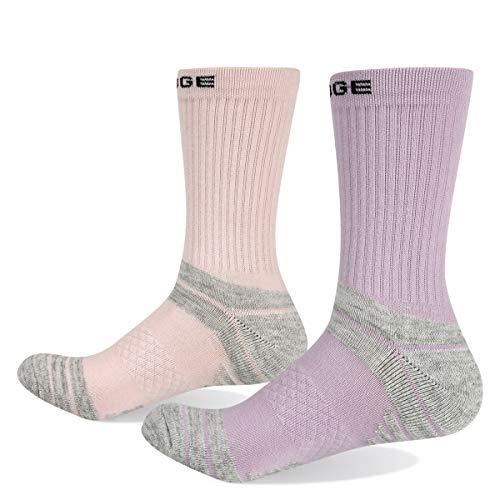 YUEDGE Women's Cushion Cotton Crew Socks Performance Athletic Hiking Socks(2 Pairs/Pack)