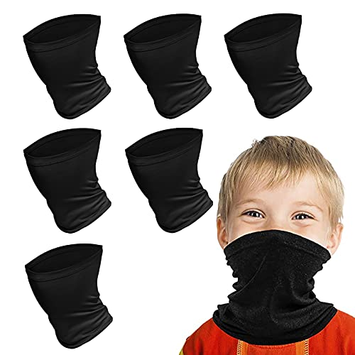Kids Face Scarf Mask, 6-14 Years Kids Cooling Neck Gaiter Scarf, Breathable Bandana Face Mask for Boys Girls,6 PACK,Washable (Black)