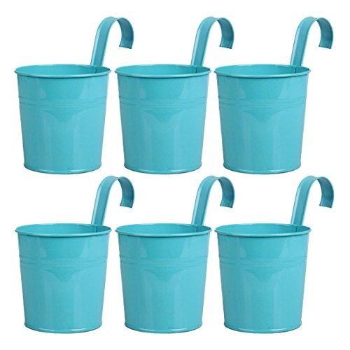 Hängetöpfe Balkon GODNECE Blumentöpfe zum Aufhängen Metall Balkontopf Hängen Pflanztopf Hängend Hängetöpfe Set(6er Set) (Blau)