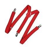 Romacci - Bretelle elastiche da uomo e donna a Y Rosso 1 Taglia unica