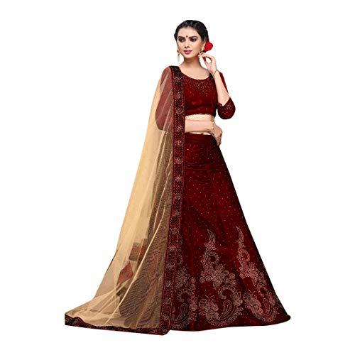 ETHNIC EMPORIUM Damen Samt Braut Hochzeit Designer Bollywood Festliche Swarovski Stein Arbeit Lehenga Choli Ghagra Dupatta Indian Muslim 777...