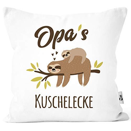 MoonWorks Funda de cojín con texto en alemán Opa's Oma's Mama's Papa's Schnarchecke Faultier Print Funda de cojín decorativa de algodón, Manta con diseño de abuelo blanco., talla única